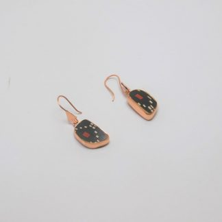 Arete de cobre con detalle en cerámica Mata Ortíz, pídalo con la clave ArCMOC/021