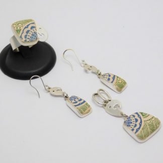 Juego de Arete, Anillo y Dije, de cerámica Mata Ortíz con plata .950 SetCMP/006
