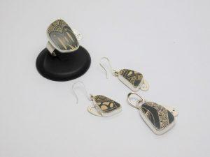 Juego de Arete, Anillo y Dije, de cerámica Mata Ortíz con plata .950 SetCMP/004