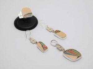 Juego de Arete, Anillo y Dije, de cerámica Mata Ortíz con plata .950 SetCMP/008