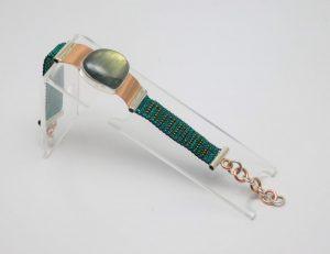 Pulsera de Cristal en plata ley .950, cobre y piedra PC1PiedB/005