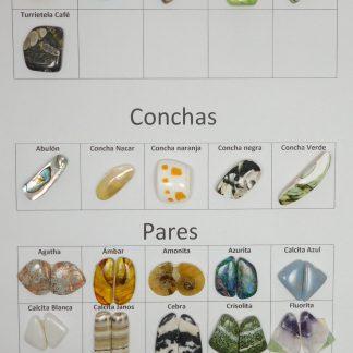 conchas y pares de piedra natural, su precio varía dependiendo de la piedra que elija y de su peso.