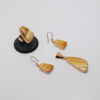 Juego de Arete, Anillo y Dije de cobre montado en Piedra Natural Jaspe extraída de las Minas de Taxco Guerrero, pídalo con la clave SetPiedC/002