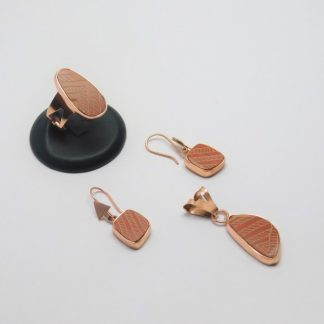 Juego de Arete, Anillo y Dije, de cobre montados en Cerámica Mata Ortíz, pídalo con la clave SetCMOC/008